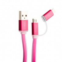 USB дата-кабель COTEetCI M1 (CS2025-MR) 2в1 lightning & microUSB cable Breathe Light плоский (1.0 м) розовый