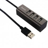 Переходник Hoco HB1 HUB four USB deconcentrator на 4 порта USB (0.80мм) Графитовый