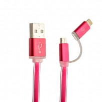 USB дата-кабель COTEetCI M15 (CS2122-MR) 2в1 lightning & microUSB cable плоский (1.0 м) розовый
