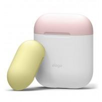 Чехол Elago для AirPods чехол Silicone DUO White с крышками Pink и Yellow