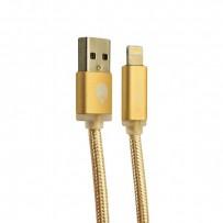 USB дата-кабель COTEetCI M30 NYLON series Lightning cable с индикатором CS2127-2M-GD (2.0 м) Золотистый
