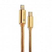 USB дата-кабель COTEetCI M38 NYLON series Type-C - Lightning Cable CS2151-CE (1.2м) Золотистый