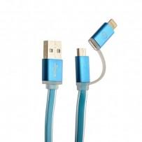 USB дата-кабель COTEetCI M15 (CS2122-BL) 2в1 lightning & microUSB cable плоский (1.0 м) голубой