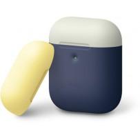 Чехол Elago для AirPods 2 wireless Silicone DUO Blue с крышками White и Yellow