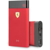 Аккумулятор внешний универсальный Ferrari Wireless 8000 mAh, цифровой дисплей, 2 USB Rubber Red, красный