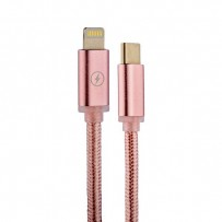 USB дата-кабель COTEetCI M38 NYLON series Type-C - Lightning Cable CS2151-MRG (1.2м) Розовое золото