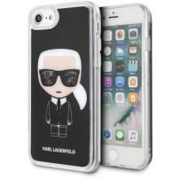 Чехол Karl Lagerfeld для iPhone 7/8/ SE (2020) Liquid glitter Iconic Hard Black