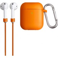 Чехол Uniq для Airpods Vencer (2019) Hang case с карабином и шнурком для AirPods Orange