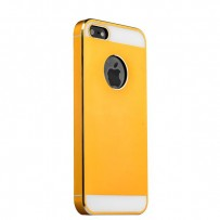 Накладка металлическая iBacks Aluminum & PP Pro case для iPhone 5S/ 5 - Essence II (ip50174) Gold with white glass