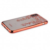 "Накладка силиконовая Beckberg Monsoon series для iPhone XS/ X (5.8"") со стразами Swarovski вид 3 Розовое золото"