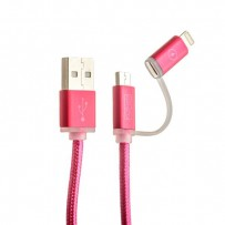 USB дата-кабель COTEetCI M9 NYLON series 2в1 Lightning+MicroUsb cable CS2112-MR (1.0 м) красный