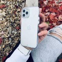 Противоударный чехол-лёд для iPhone 12/ 12 Pro, кристально-прозрачный (антибактериальный материал)
