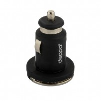 Разделитель автомобильный Deppa Ultra MFI 3.4A D-11257 + витой дата-кабель 8-pin Lightning 1.5м (2USB: 5V 1A & 5V 2.4A) Черный