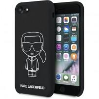 Чехол Karl Lagerfeld для iPhone 7/8/SE 2020 Liquid silicone Ikonik outlines Hard Black/White