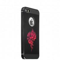 Накладка металлическая iBacks Aluminium Case With Cameo для iPhone SE/ 5S/ 5 - Dragon (ip50146) Black Черная
