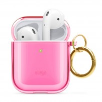 Чехол Elago для AirPods Gen 1 & 2 Clear Hang case Neon Pink