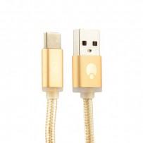 USB дата-кабель COTEetCI M20 Type-C Cable CS2128-GD (Nylon, 1.2m)Золотистый