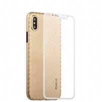 """Чехол-накладка карбоновая Coblue 4D Glass & Carbon Case (2в1) для iPhone XS/ X (5.8"""") Золотистый"""