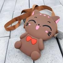 Детская сумка-кроссбоди Happy Bags водонепроницаемая, бархатистая soft-touch, Котёнок (для девочки, для мальчика)