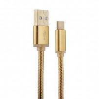 USB дата-кабель COTEetCI M20 NYLON series Type-C Cable CS2128-2M-GD (2.0m) Золотистый