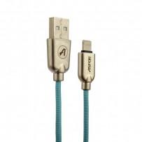 USB дата-кабель Aspor Kirsite А117 8-pin Lightning (1.2m) в тканевой оплётке 2.4A мятный