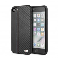 Чехол BMW, для iPhone 7/8/ SE 2 Smooth/Carbon effect PU Hard Black