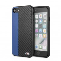 Чехол BMW, для iPhone 7/8/ SE 2 Smooth/Carbon effect PU Hard Blue