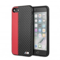 Чехол BMW, для iPhone 7/8/ SE 2 Smooth/Carbon effect PU Hard Red