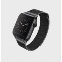 Ремешок Uniq для Apple Watch 1/2/3/4/5 38мм/ 40мм Dante Strap Steel Black (нержавеющяя сталь)