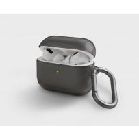 Чехол Uniq для Airpods Pro Glase с карабином Smoke grey, дымчатый