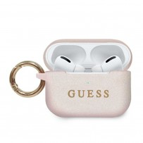Чехол Guess для Airpods Pro Silicone case with ring Light pink
