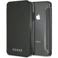 Чехол Guess Bundle для iPhone XR чехол Iridescent Booktype Black + стекло Tempered glass Silver logo