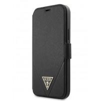Чехол-книжка Guess для iPhone 12 Pro Max PU Saffiano Triangle metal logo Booktype Black (GUFLBKP12LVSATMLBK)