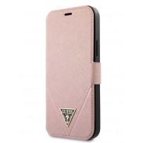 Чехол-книжка Guess для iPhone 12 Pro Max PU Saffiano Triangle metal logo Booktype Pink (GUFLBKP12LVSATMLPI)