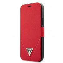 Чехол Guess для iPhone 12/12 Pro PU Saffiano Triangle metal logo Booktype Red (GUFLBKP12MVSATMLRE)