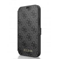 Чехол-книжка Guess для iPhone 12 Pro Max PU 4G collection Booktype Grey/Black (GUFLBKSP12L4GG)