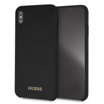 Чехол Guess для iPhone XS Max Silicone collection Gold logo Hard Black