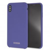 Чехол Guess для iPhone XS Max Silicone collection Gold logo Hard Purple