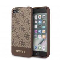 Чехол Guess для iPhone 7/8/SE 2020 4G PU Stripe Metal logo Hard Brown