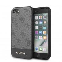 Чехол Guess для iPhone 7/8/SE 2020 4G PU Stripe Metal logo Hard Grey