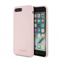Чехол Guess для iPhone 7/ 8 Plus Silicone collection Gold logo Hard Light Pink