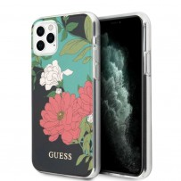 Чехол Guess, для iPhone 11 Pro Flower TPU/PC Hard Shiny N.1 Black