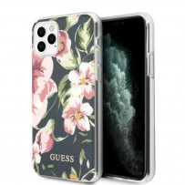Чехол Guess, для iPhone 11 Pro Flower TPU/PC Hard Shiny N.3 Navy