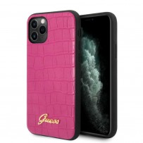 Чехол Guess, для iPhone 11 Pro Animal Croco with metal logo Hard PU Pink