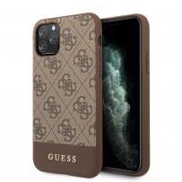 Чехол Guess для iPhone 11 Pro Max 4G PU Stripe Metal logo Hard Brown