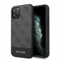 Чехол Guess для iPhone 11 Pro Max 4G PU Stripe Metal logo Hard Grey