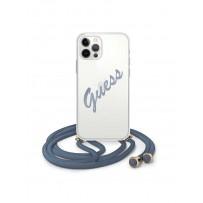 Чехол Guess для iPhone 12 Pro Max PC/TPU Crossbody Script logo Hard Transp/Blue (GUHCP12LCRTVSBL)