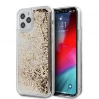 Чехол Guess для iPhone 12 Pro Max чехол Liquid Glitter Charms Hard Gold