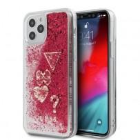 Чехол Guess для iPhone 12 Pro Max чехол Liquid Glitter Charms Hard Raspberry