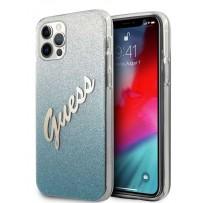 Чехол Guess для iPhone 12 Pro Max PC/TPU Script logo Hard Gradient Glitter/Blue (GUHCP12LPCUGLSBL)